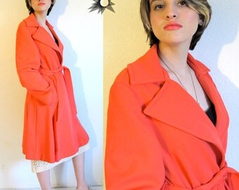 Vintage Deadstock NOS 1960's Mackintosh of New England Coral Colored Belted Trenchcoat Size L
