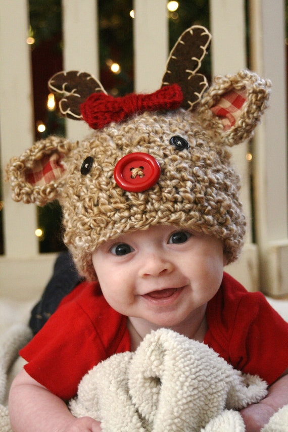 Knitting Pattern For Reindeer Hats For Dogs : Reindeer Crochet Hat PDF Pattern