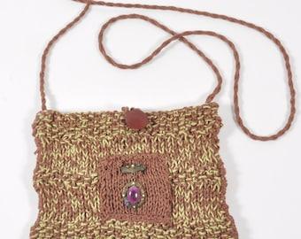 Linen Brown Hand Knit Shoulder Bag Purse - Pistachio Nut