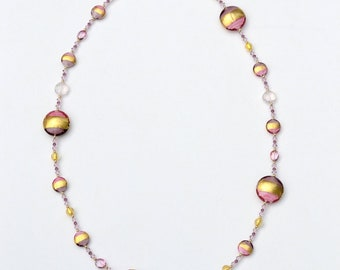 Pink, Gold & Purple Necklace with Venetian Murano beads, semi-precious stones, Swarovski crystals, and gold beads
