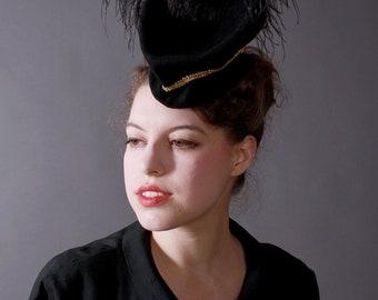 SALE / In-Stock: Fantastic Vintage Burlesque-Style Black Wool Felt Tilt Hat with Gold Trim & Ostrich Feather