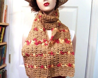 Delicious Hand Crocheted Scarf: Caramel Brown Striped in Variegated Cranberry Orange Yellow - M0010