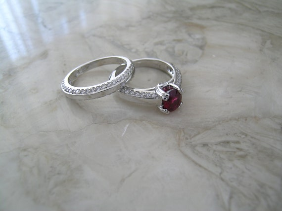 Ruby Wedding Ring Set White Gold Ruby And By Marketplacetreasure