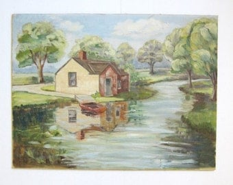 Riverside House - 24x18 Vintage Landscape Painting - Original Art - Pastel Home Decor - Country Cottage Green Wall Decor - Row Boat Dock