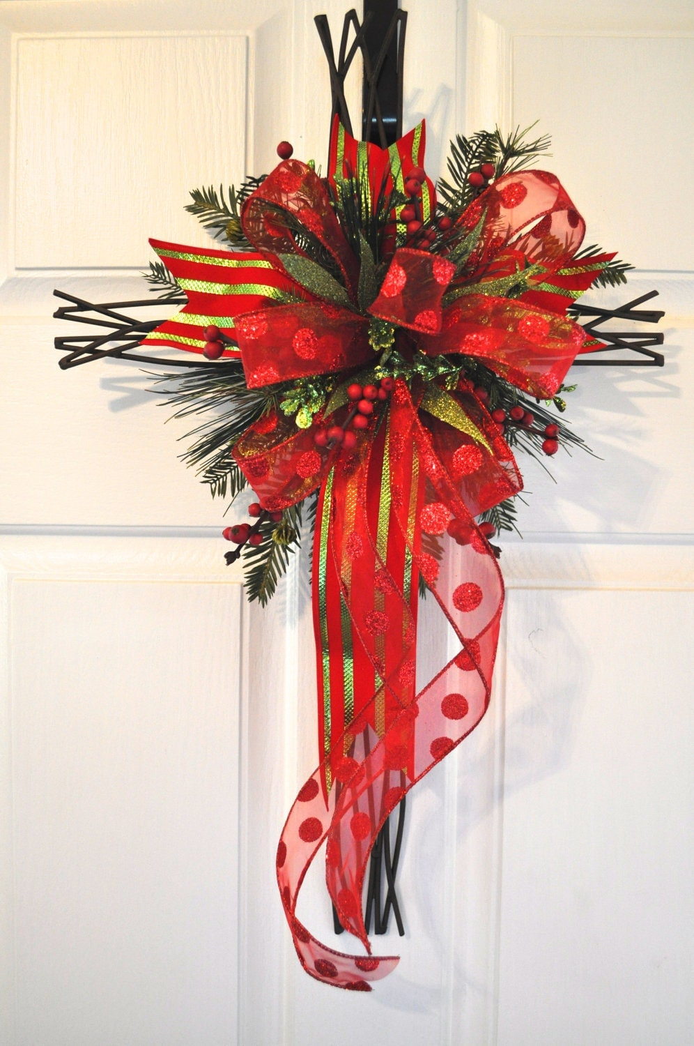Christmas Front Door Cross Door Hanger Wall Decor by RedBarnWreath