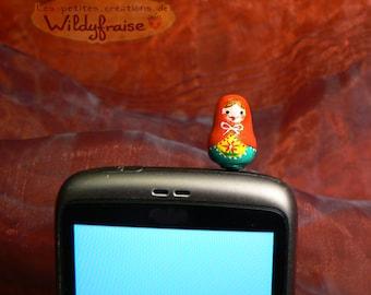 Russian doll - smartphone dust plug - iphone Earphone Plug - handmade