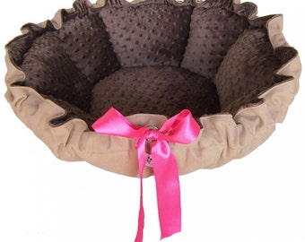 Tan Dog Bed - Tan with Brown with Hot Pink Ribbon