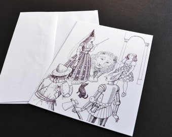Postcard, Wizard of Oz illustration, Children's Literature, black and white illustration postcard