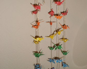 Rainbow Peace Crane Mobile