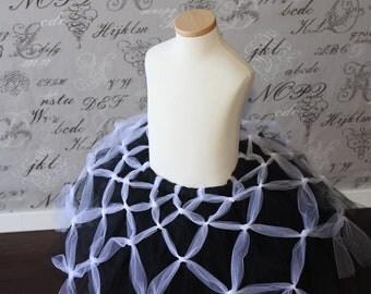 Long Black tutu with White Spider Web Tutu Skirt Halloween custom made