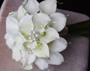 Wedding Brooch Bouquet Off White Natural Touch Calla Lilies Silk Bridal Jewel Flowers
