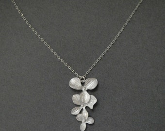 Triple Orchid Necklace in STERLING SILVER CHAIN--Perfect Gift, gift for mom,gift for friends, Birthday Present for her