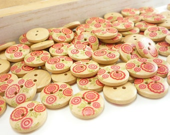 15mm Floral Swirl Painted Wood Buttons (12 pcs set)