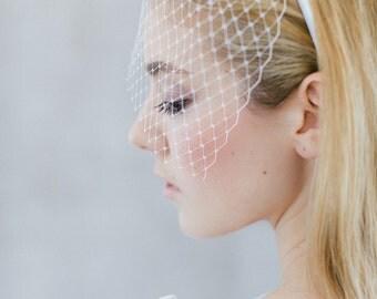"""Wedding Hair Accessory , Bridal Birdcage, French Netting - """"Gisele"""""""