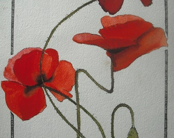 Red Poppies botanical painting