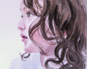 Custom watercolor portrait, single subject, color