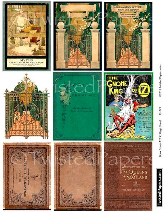 Book Cover Collage Quest : Antiquarian book covers collage sheet sized for atc