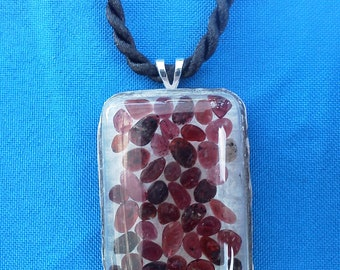 Garnet, Chipped Gemstones, Resin Pendant, Necklace, Jewelry