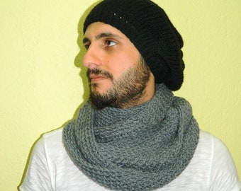 Knitting Pattern For Mens Infinity Scarf : Knit infinity Men Scarf. Block Infinity Scarf. Loop Scarf