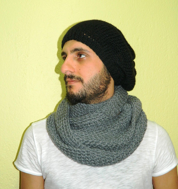 Knitting Scarves For Men : Knitting infinity men scarf block loop