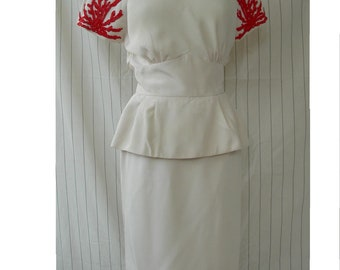 Vintage 1980's White Silk Dress with red beading in a Red Coral motif by Alba