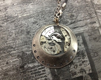 DOLPHIN in UFO  Steampunk jewelry -necklace-