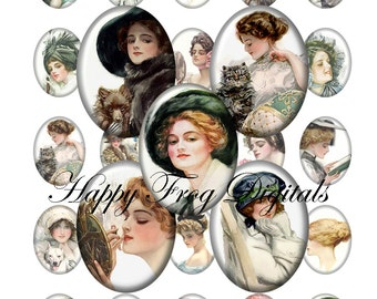 Harrison Fisher Beauties - 30x40, 18x25 and 13x18 mm ovals - digital collage sheet - 020 HFD  - Printable Download