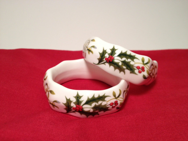 Asl Bone China Christmas Napkin Rings Ceramic Porcelain