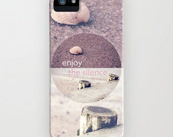 iPhone Case - 5 4 4s 3g 3gs - Enjoy The Silence - beach - impressions - seashell - pastel - pink - collage - sea - silence - vintage