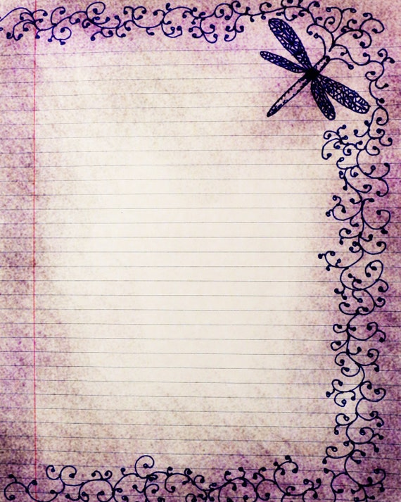Charming Printable Journal Page,Dragonfly, Swirls, Pen And Ink Drawing, Digital Writing  Lined Stationery Paper, Purple Digital Paper,Scrapbook Paper From ... Pertaining To Lined Stationary Paper