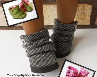 Pixie Faire Miche Designs Slouch Ankle Boots Doll Shoe Pattern for 18 inch American Girl Dolls - PDF