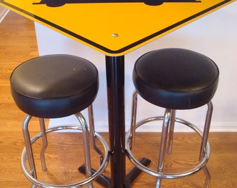 ROAD TRAFFIC SIGN PubTables Aluminum Cafe Tables yellow reflective