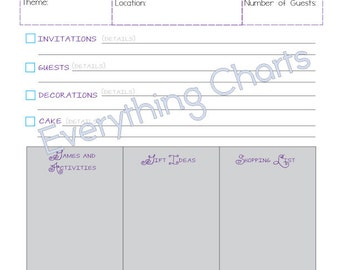 Birthday Party Planner   PDF File/Printable  Birthday Party Planning Checklist Template