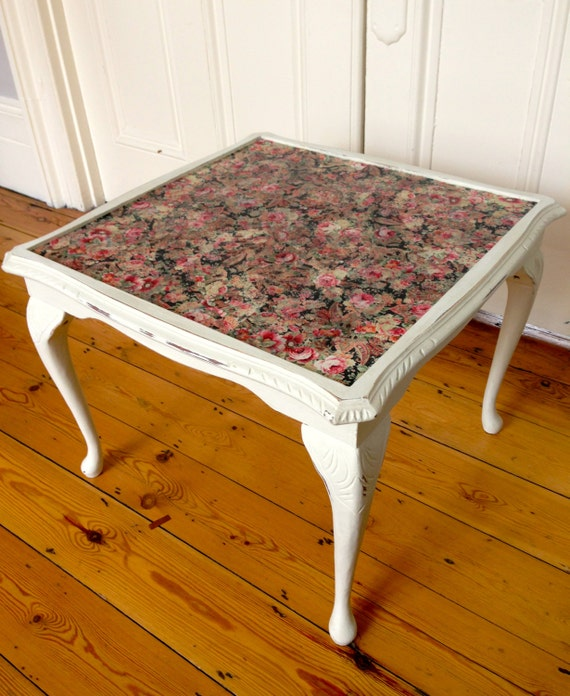 square victorian coffee table w black/pink rose decoupage and