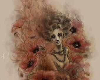 Dark Fantasy Print - Anima Sola - Lonely Soul - Red Poppies - 5x7 Fantasy Art Print - Free Shipping to US - by Mitzi Sato-Wiuff