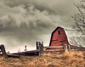 Red Barn, Fine Art Photography Print, 8x12, Rural Alberta Rustic Photo - DottyPhotography