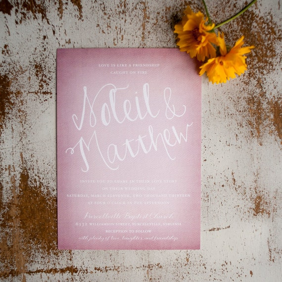 Rustic Wedding Invitation - The Soleil - blush pink Wedding Invitation, wedding invites, typography, calligraphy, modern, simple, watercolor