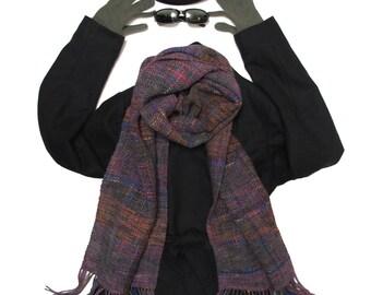 Woven scarf - lilac, woolen, OOAK