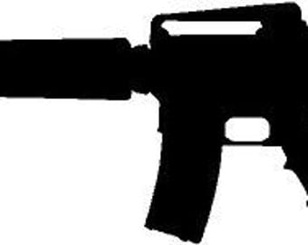 AR15 M4 With Scope Silhouette 2x6 High Vinyl Quality Decal