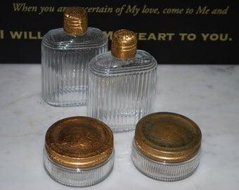 Vintage 4PC Dresser Set Powder Cream Jars Perfume Jars