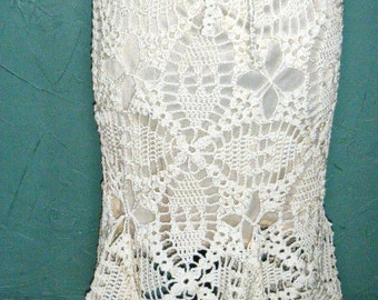 Ivory Gypsy Bohemian Crocheted Fishtail Hem Skirt--XS/M