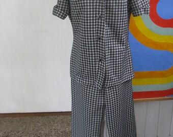 60s Black and White Plaid Shirt and Pants Set / M / L