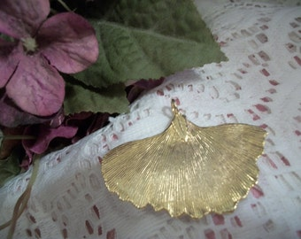 Leaf Pendant Handcrafted Gold Gilt Leaf Artistic Nature Inspired Vintage Fashion Jewelry Accessory