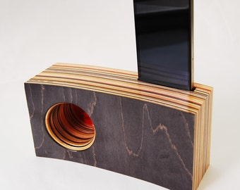 Smartphone Speaker/Amplifier made from Reclaimed Skateboards