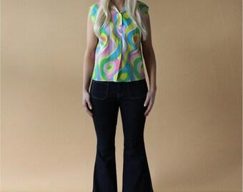 1960s psychedelic MULTICOLORED hippie hippy BOHO bohemian mod blouse: Hello Dottie