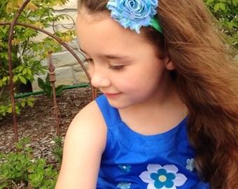 The Blue Vintage Floral Shabby Chic Headband or Hair Clip