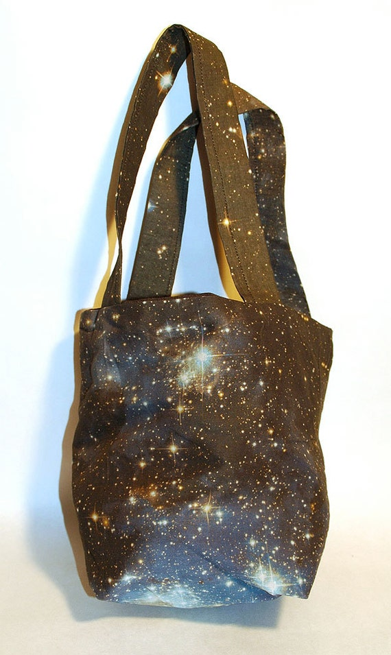 Galaxy reversible hand bag shopper with straps Hubble galaxy print design astronomy