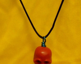 Red Cinnabar Skull Necklace  Gothic  Tribal Punk 2