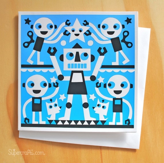 Robo-boogie screen printed greetings card.