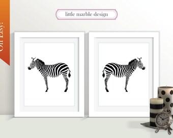 Zebra Print: Black and White Zebra TWO 8x10 Prints